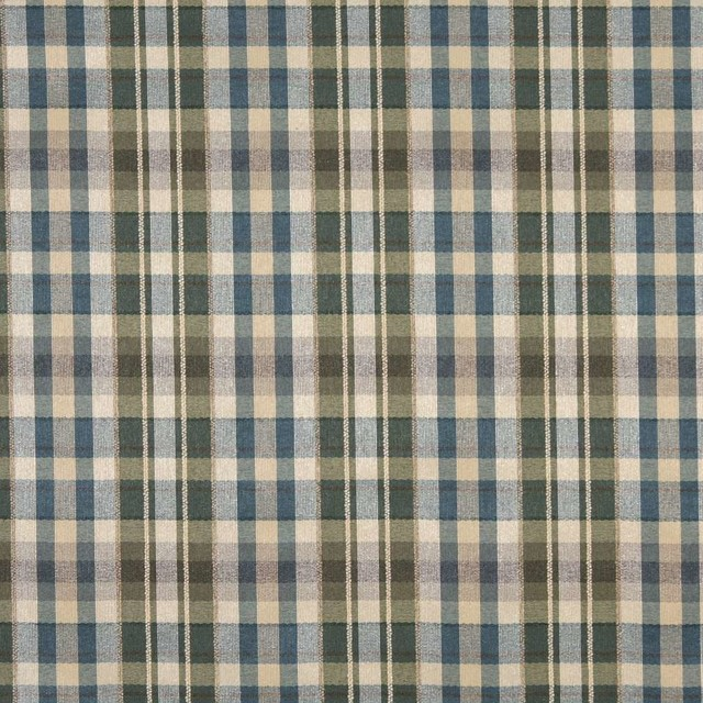 Ivory Blue And Green Textured Plaid Upholstery Grade