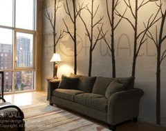 tree wall decal contemporary-living-room