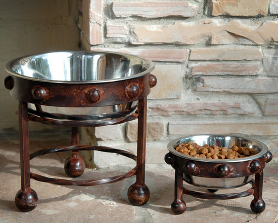 Mission Single Pet Feeders - Convenience meets class in our handsome and sturdy hand-forged iron pet feeders. Stainless steel bowls will provide easy clean up, and large and small sizes will accommodate your maxi- or mini-sized canine companions.