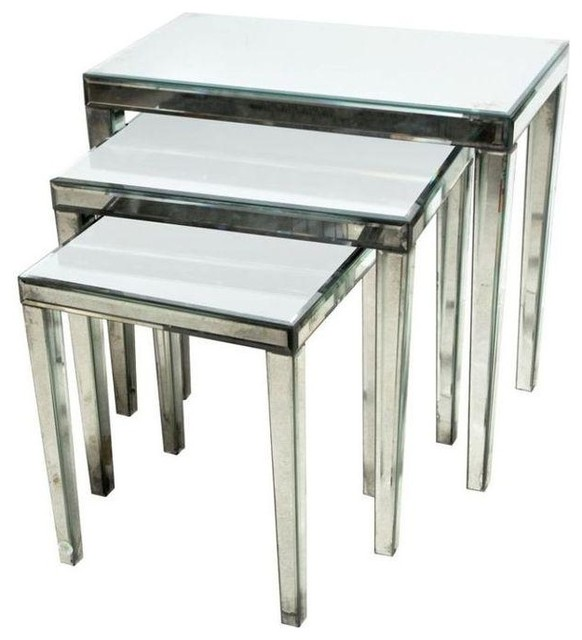Pre owned Mirrored Nesting Tables Set Of 3 Contemporary