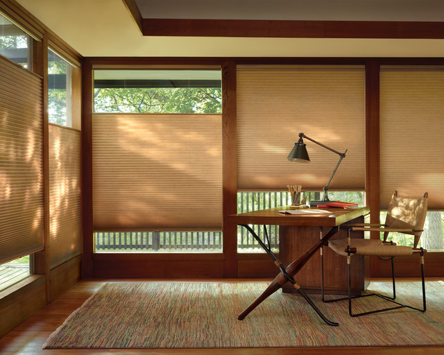 master bedroom office with duette honeycombs two blind