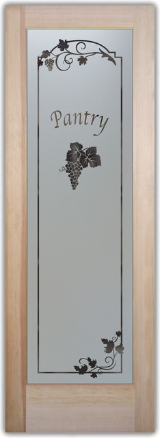 Pantry Door - Glass frosted with Vineyard Grapes Cluster eclectic kitchen