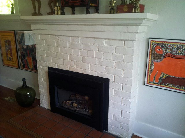 BEFORE PHOTO/Sage Green fireplace surround traditional