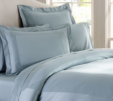 Hotel 600-Thread-Count Duvet Cover, King/Cal. King, Porcelain Blue traditional-bedding