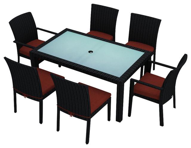 Urbana 7 Piece Modern Outdoor Dining Set, Henna Cushions modern-patio-furniture-and-outdoor-furniture