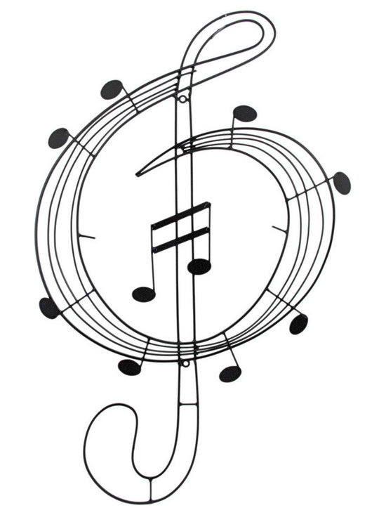 Swirling Treble Clef and Music Note Metal Art Wall Hanging - This cool piece of metal art will look wonderful on any wall! It is made of an enamel coated metal and swirls around to form a treble clef accented by quarter notes with eighth notes in the center of the piece. It measures 29 1/2 inches long, 18 inches wide and mounts vertically to the wall with 2 screws (not included.) It makes a great gift for music lovers.