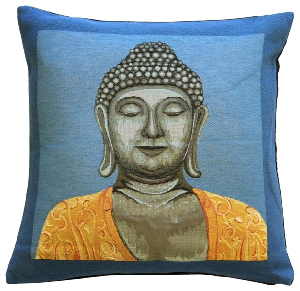 Pillow Decor - Buddha in Blue French Tapestry Throw Pillow asian-decorative-pillows