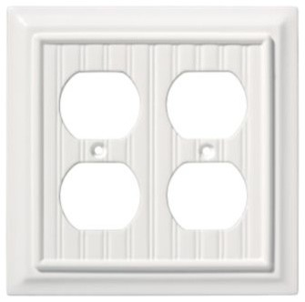 Liberty Hardware 126468 Beadboard WP Collection 4.96 Inch Switch Plate - White modern-switch-plates-and-outlet-covers