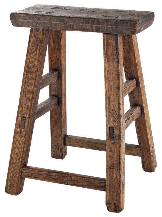 Rejuvenation: Entry - This rustic pine stool is a perfect place to sit yourself down and take your boots off - which is what makes it a great addition to a mudroom or entry.