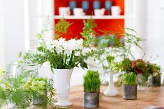 greens-laden tablescape