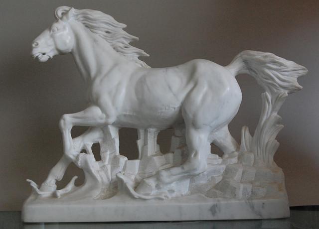 Carrara Marble Horse Sculpture Contemporary Artwork