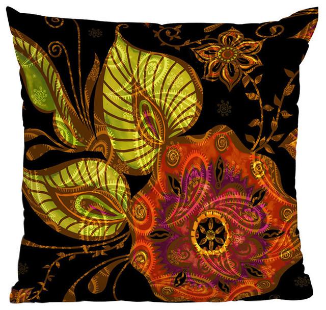 DENY Designs Gina Rivas Design Exotic Floral Throw Pillow contemporary-decorative-pillows