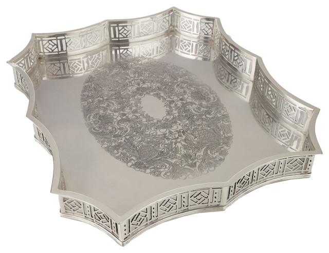 Scalloped-Edge Metal Tray traditional-home-decor