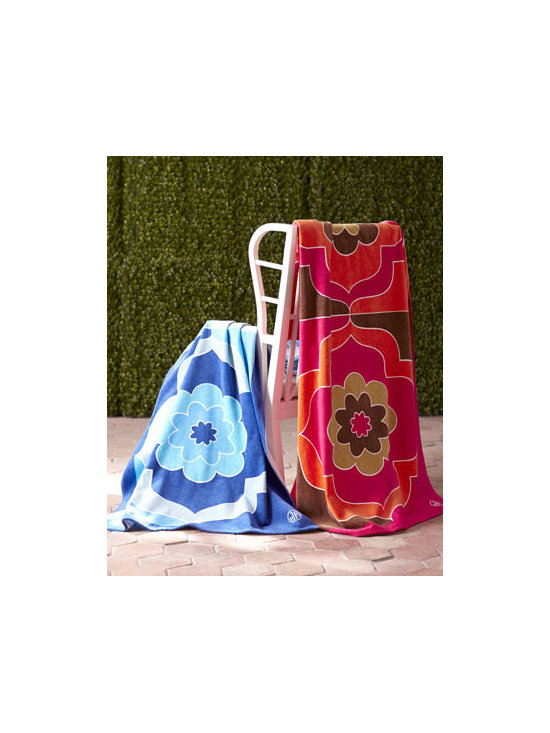 "Jonathan Adler - Jonathan Adler ""Madeleine"" Beach Towel - Whether you are laying out or toweling off, Jonathan Adler's plush, oversized ""Madeleine"" beach towel with mod floral pattern is as fashionable as it is practical. Made of cotton terry. Select color when ordering. 40"" x 70"". Machine wash. Made in...."