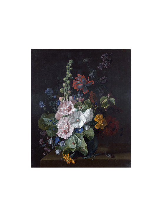 Hollyhocks and Other Flowers in a Vase | Huysum | Canvas Print - Condition: Canvas Print - Unframed