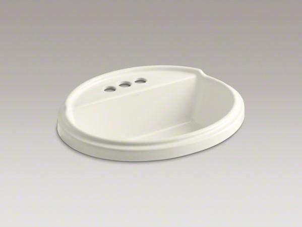 "KOHLER Tresham(R) oval drop-in bathroom sink with 4"" centerset faucet holes contemporary-bathroom-sinks"