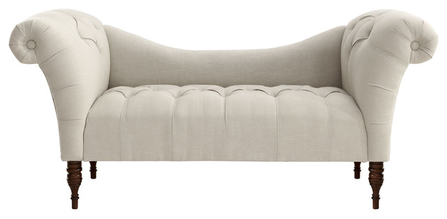 Cameron Tufted Chaise, Talc contemporary-bedroom-benches