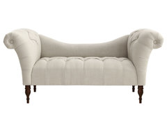 Cameron Tufted Chaise, Talc contemporary bedroom benches