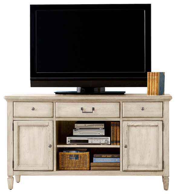 American Drew Americana Home Entertainment Unit in Weathered White traditional-media-storage