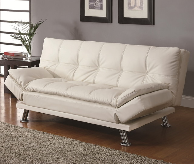 Contemporary White Sleeper Sofa Bed Modern Futons