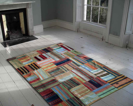 Kilim patchwork rug stripes -