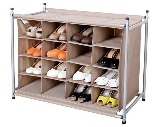 StorageIdeas - StorageIdeas®16 Compartment Shoe Cubby, 16-Pair Chocolate Shoes Organizer - Features: