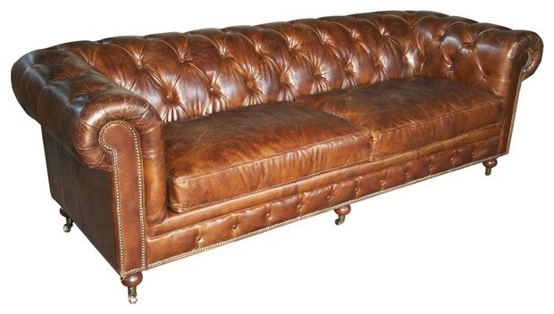 RION Furniture - 4 Seater Tufted Sofa in Vintage Leather - LEA880A-4D traditional-sofas