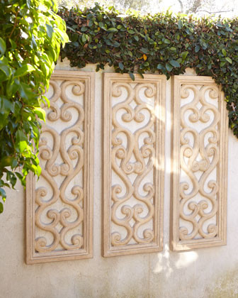 Scrolled vertical wall panel traditional tile by horchow for Garden wall decor ideas