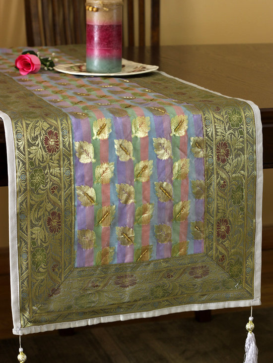 """Elegant Table Runners - Golden Rainbow color in delicate silk with hand crafted leaves shape adorn this """"Luxurious Satin Table Runner"""" from the Banarsi Collection. Gold"""