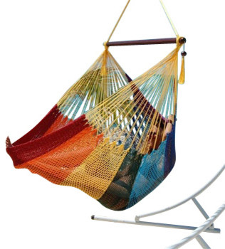Jumbo Sized Rainbow Striped Weather Resistant Rope Hammock Chair contemporary-hammocks-and-swing-chairs