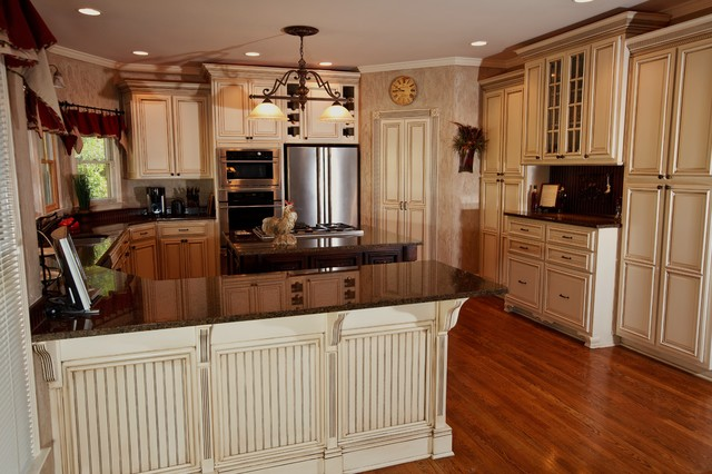 Cabinets Were Painted Off White And Glazed With A Warm Dark Glaze