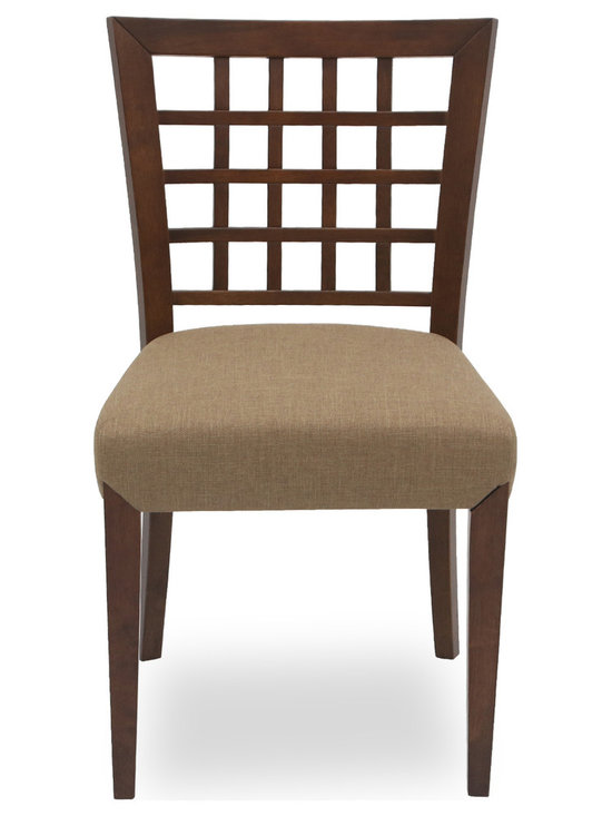 Bryght - Amanda Latte Fabric Upholstered Cocoa Dining Chair - Add a touch of class with the Amanda fabric upholstered cocoa dining chair. A lovely solid wood latticed back, strengthened by angled joinery and a generously scaled upholstered seat affords maximum comfort without compromising on style. The Amanda dining chair is ideal for everyday use or dinner parties.
