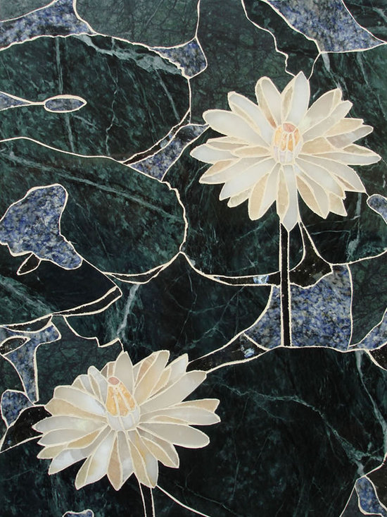 Water lotus handcrafted marble mural