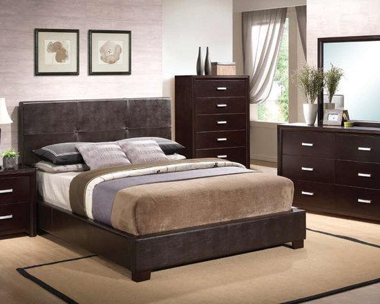 Bedrooms Furniture - Casual Black Vinyl Bedroom Set