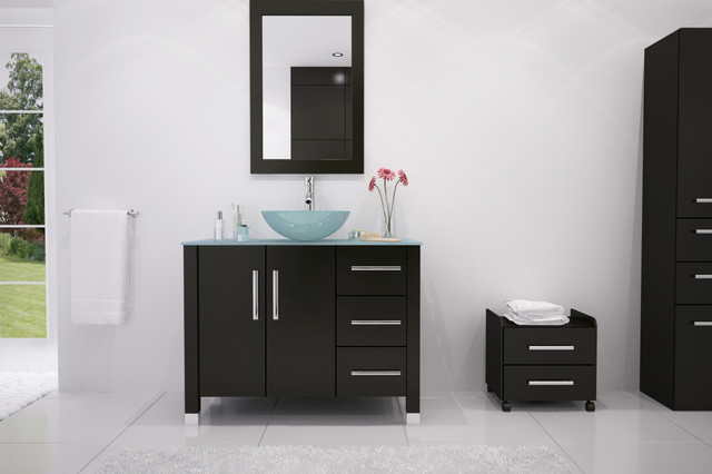 39 5 Crater Single Vessel Sink Contemporary Bathroom Vanity With Glass