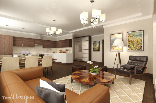 1-bedroom apartment, combined living, dining and kitchen areas ...