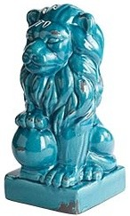 Turquoise Ceramic Lion eclectic artwork