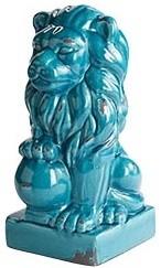 Turquoise Ceramic Lion eclectic-artwork