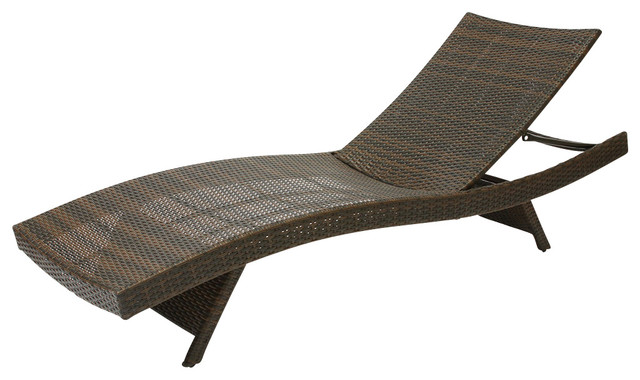 Lakeport Outdoor Wicker Lounge Contemporary Outdoor Chaise Lounges by G