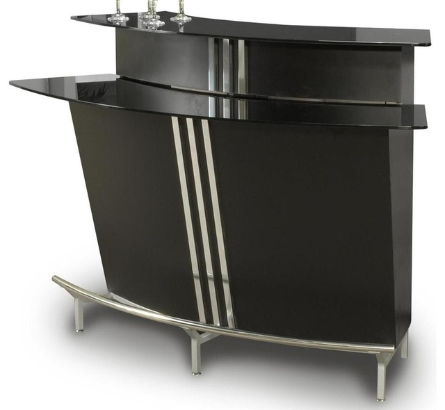 Contemporary Curved Bar With Glass Top - Contemporary - Wine And Bar Cabinets - by ShopLadder