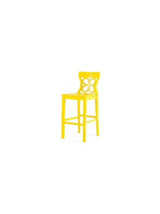 """Eco Friendly Furniture and Lighting - """"Very beachy and summery,"""" says Gambrel, noting the color's name: sunshine yellow. (It also comes in white.) """"Barstools are often used by the kids in the family, so this could go in a zippy breakfast room."""