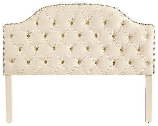 Ballard Designs - Camden Tufted Headboard with Silver Nailheads Full - Hardwood frame. Self-covered buttons. Artisan crafted in North Carolina. Available in Off-White Twill. Special Order in your choice of fabrics. Create an inviting, custom look with our exclusive padded Camden Tufted Headboard with Silver Nailheads. We have improved the construction of this headboard so that the legs adjust to accommodate your mattress height.Camden Tufted Headboard with Silver Nailheads features:  . .  . . . Matress not included.