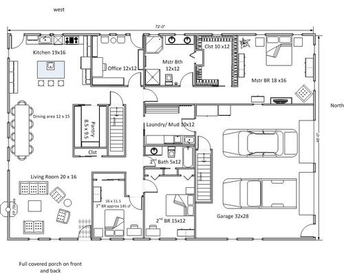 Rectangular floor plan for Rectangular plot house plan