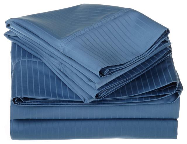 1000 Thread Count Egyptian Cotton Full Medium Blue Stripe Sheet Set traditional-sheets