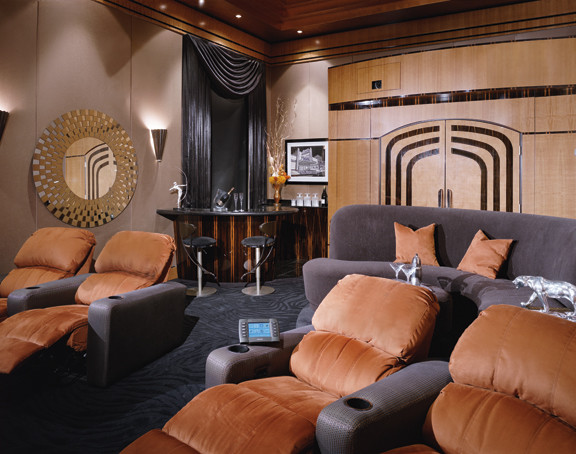 art deco theater modern home theater los angeles by fran kerzner design synthesis. Black Bedroom Furniture Sets. Home Design Ideas