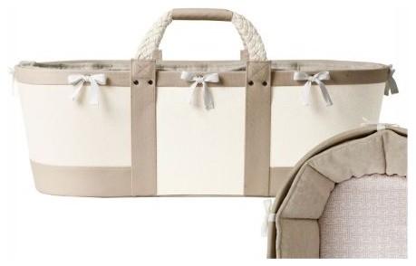 Sausalito Moses Basket  Flax/Shell Trellis Sheet traditional-cribs