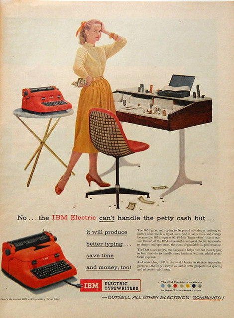 Vintage Gal Friday Typewriter Ad IBM Electric by DustyDiggerLise - Modern - Prints And Posters ...