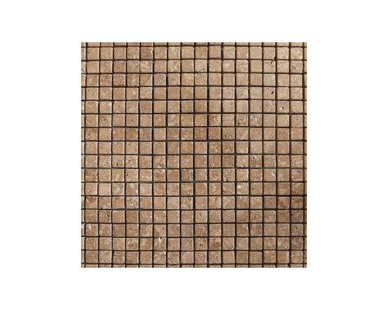 "1.5""x1.5"" Walnut Travertine Tumbled Natural Stone Mosaic -"
