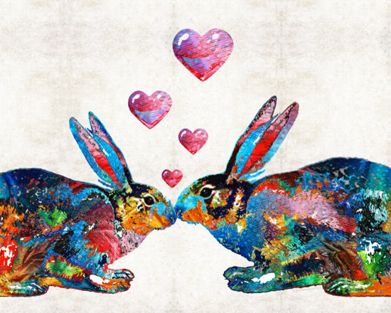Animals, Fish and Birds - Bunny Rabbit Art - Hopped Up On Love - By Sharon Cummings