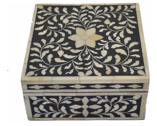 Bone-Inlay Box - A large vintage bone-inlay box rendered in a traditional Indian pattern and a classic black-and-cream palette. Neutral enough to add to any decor, yet unusual enough to be its own point of interest.